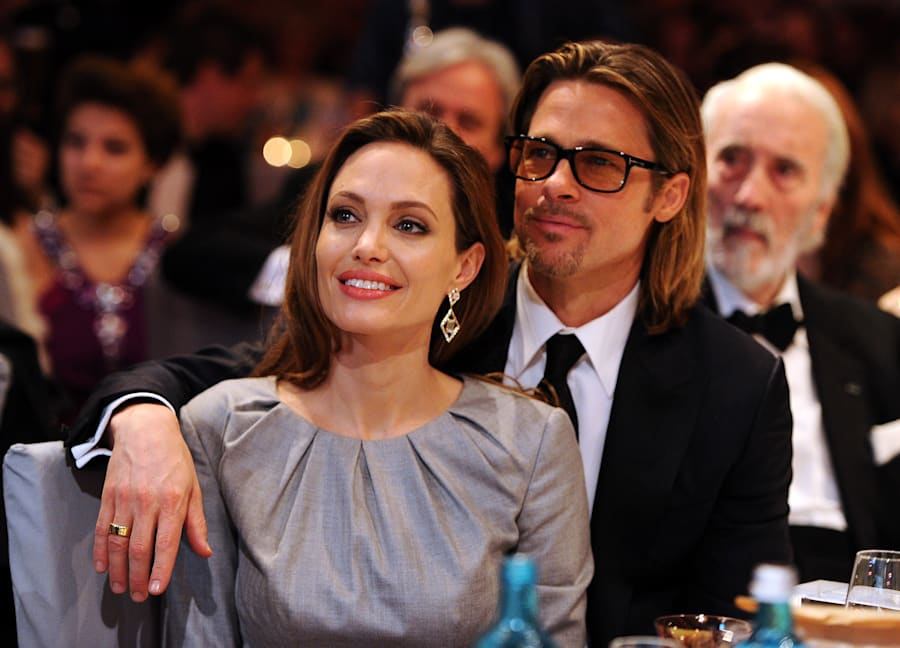 "Angelina Jolie and Brad Pitt attend the ""Cinema for Peace 2012"" charity gala in"