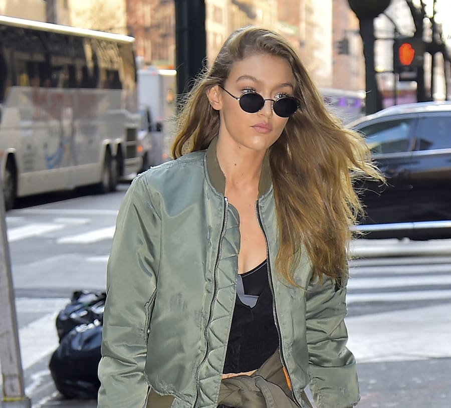 Gigi's signature off-duty look is super long and casually side
