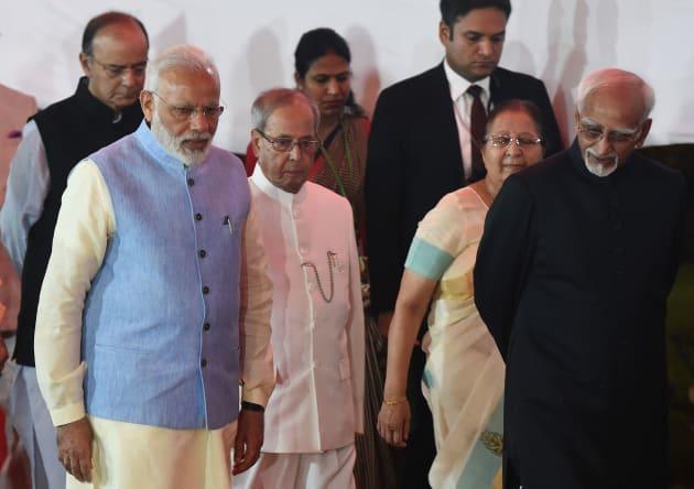 Indian President Pranab Mukherjee (C), Prime Minister Narendra Modi (2nd L), Parliament Speaker Sumitra...