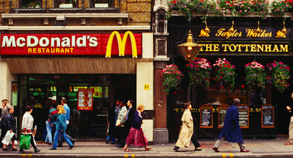 McDonalds, next door to traditional pub - London, Greater London, England