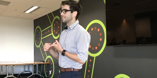 Robert Quinn addresses fellow entrepreneurs in Sydney about his start-up, Patch'd, which aims to allow...