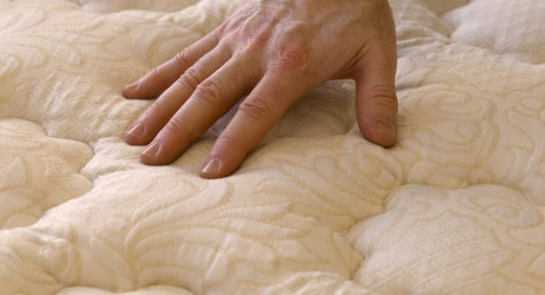 Buying Bed Mattress and Sofa, Hand Touching Furniture while Shopping