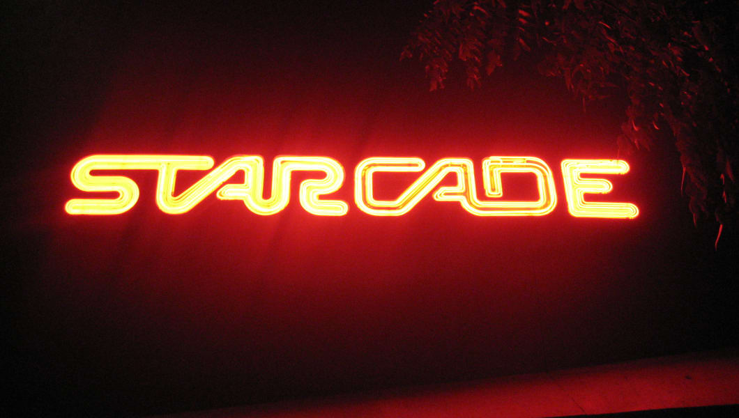 The old-school Starcade sign in Disneyland.