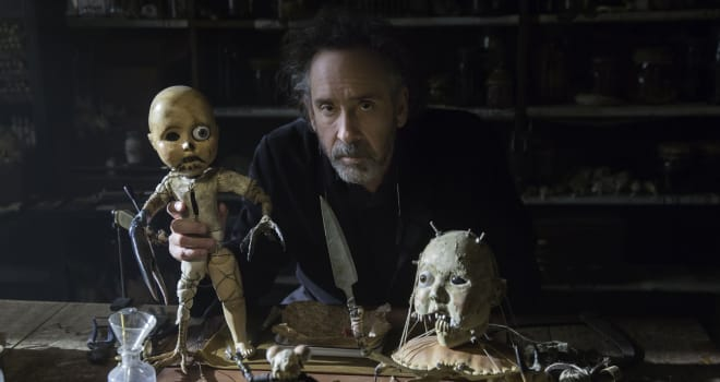"Tim Burton on the set of ""Miss Peregrine's Home for Peculiar Children"""