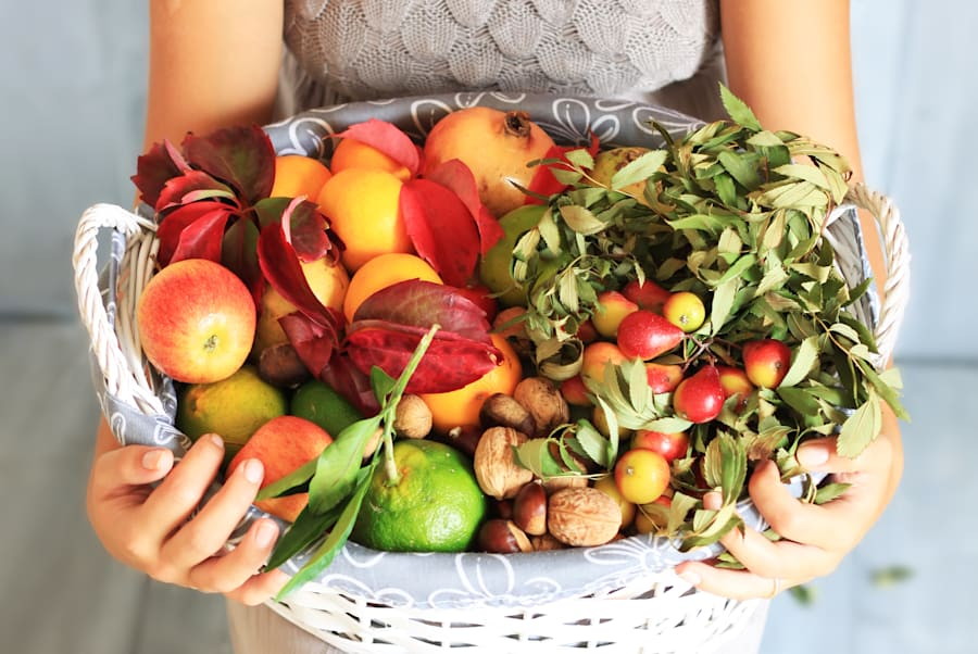 Fruit and veggies are low in salt and naturally add more