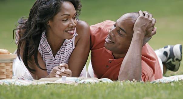 Couple having picnic
