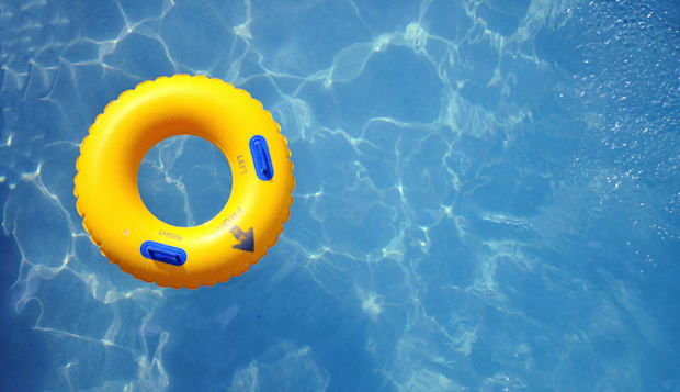yellow pool float  pool ring in ...