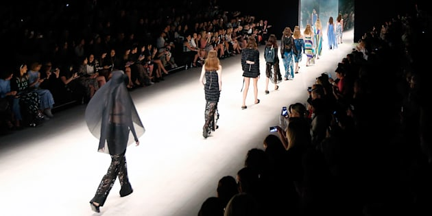 SYDNEY, AUSTRALIA - MAY 16: Models walk the runway during the Ginger & Smart show at Mercedes-Benz...