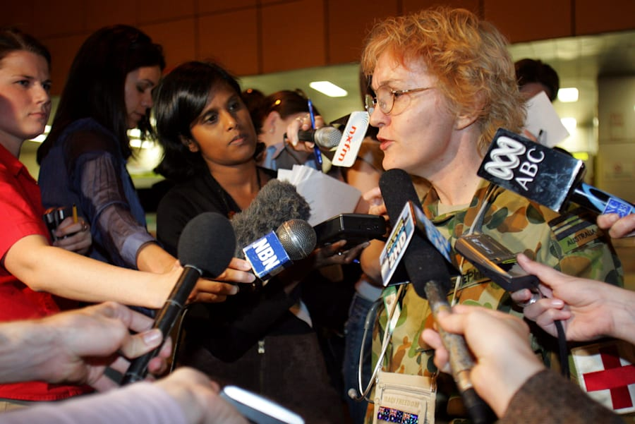 Dianne Stephens speaks to reporters after the second 2005 Bali