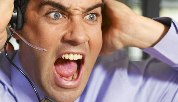 Businessman wearing telephone headset, shouting, close-up   Image, Aggression, Casual Clothing, Anger, Frustration, Connection,
