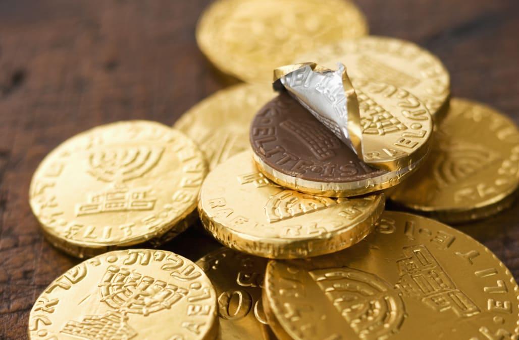 Pile of Hanukah gelt chocolate