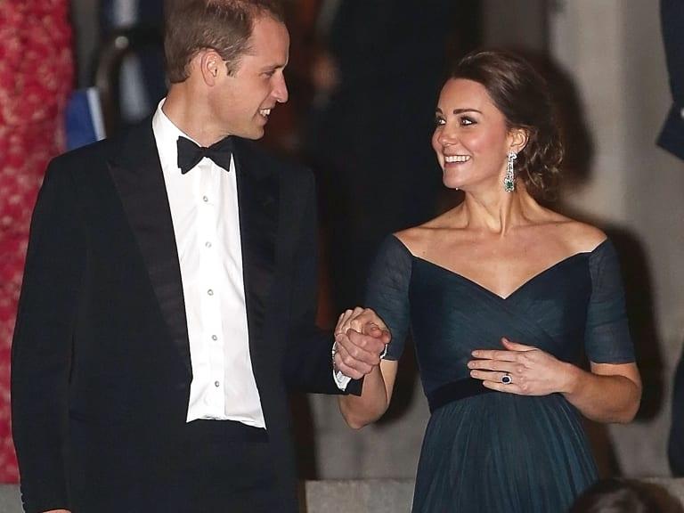 Duchess Kate goes full-glamour in diamonds, emeralds and Jenny Packham