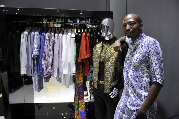 Fashion designer Thula Sindi at the opening of his new store in