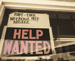 help wanted sign in cafe window