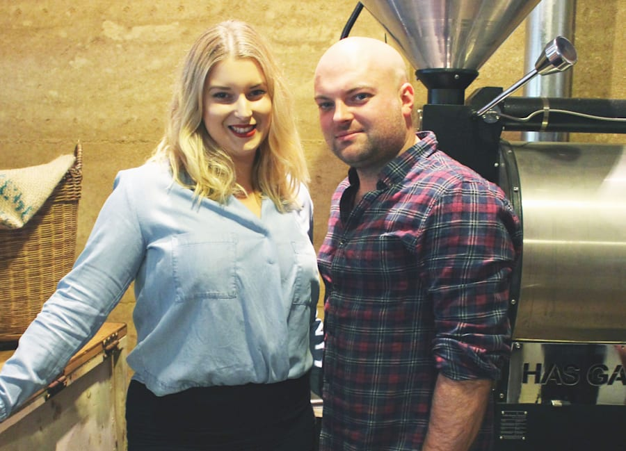 Laura Evans, with husband Lachlan Evans, say weekend penalty rates are a major issue for their cafe business...