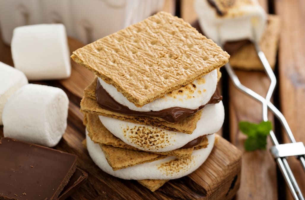 Picnic dessert smores with marshmallows