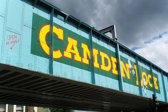 The old railway bridge at Camden Lock market in London.