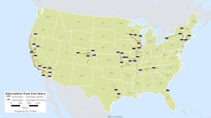 Federal Highway Administration's map of the future hydrogen station network.