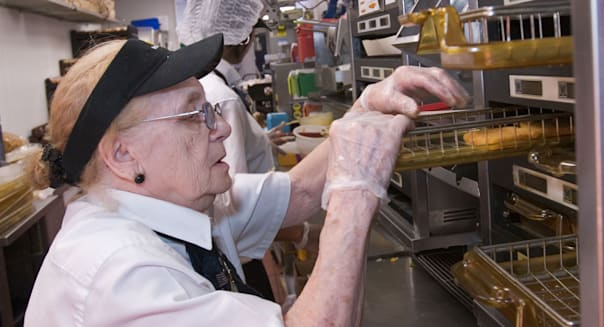 80 Year Old Worker at McDonalds Restaurant