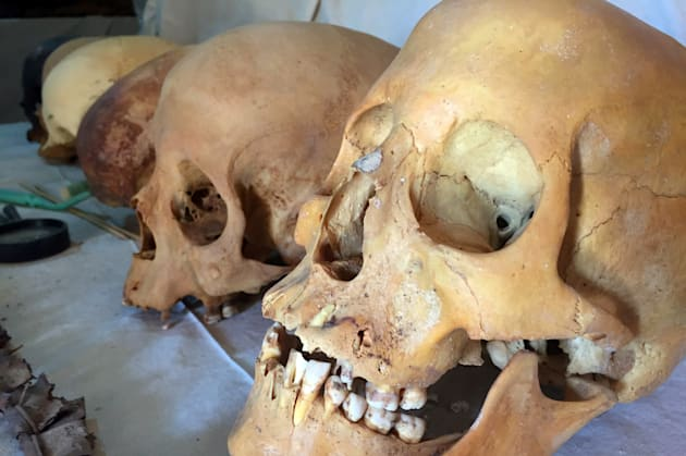 Skulls were also found inside the tomb by