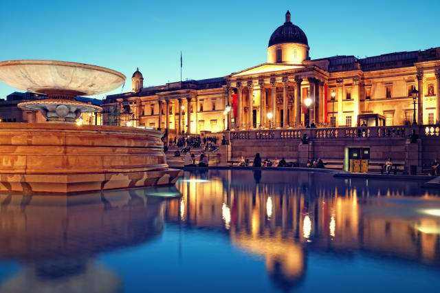 'The National Gallery and Trafalgar Square, London.'