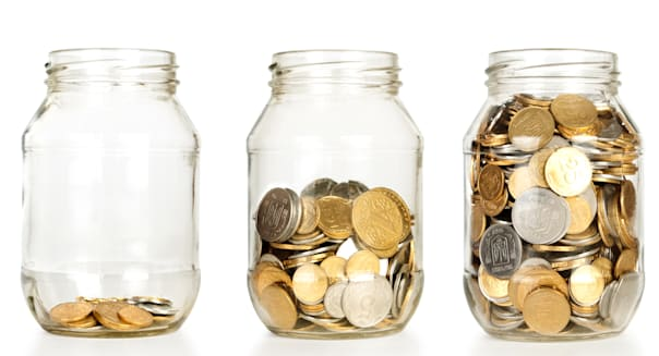 glass jars with coins like...