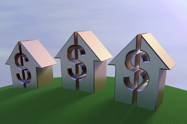 A 3D rendering of rising arrows with dollar signs