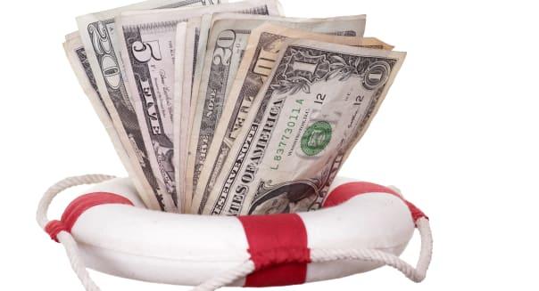 lifebuoy with dollars