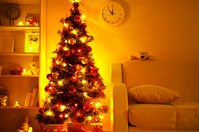 a lighted christmas tree with...