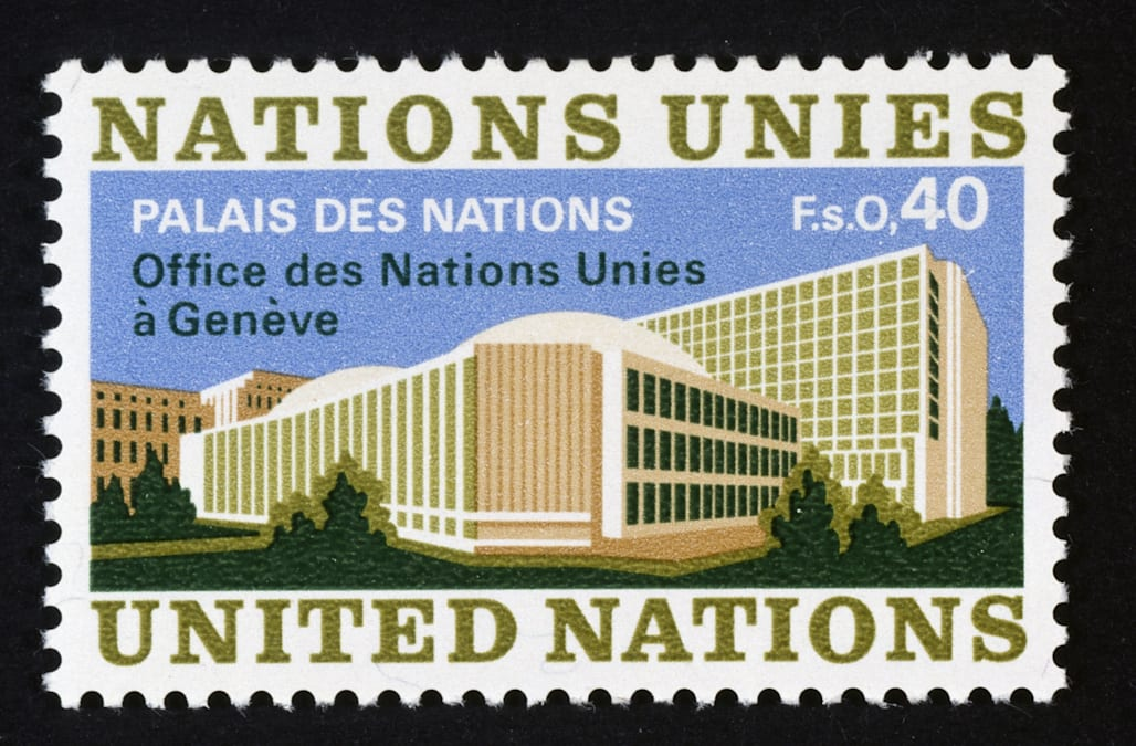 Stamp depicting Palace of Nations in Geneva