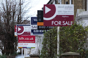 File photo dated 27/01/14 of for sale signs displayed outside houses in Finsbury Park, North London. House prices surged by 8.8% year-on-year in January as they continued to increase at their fastest pace since 2010, Nationwide has reported.  PRESS ASSOCIATION Photo. Issue date: Wednesday January 29, 2014. See PA story ECONOMY  House. Photo credit should read: Yui Mok/PA Wire