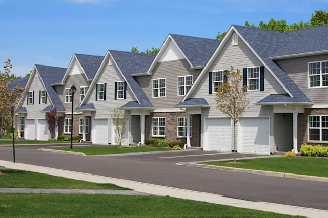 row of new town homes waiting...
