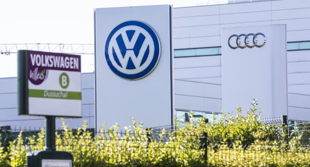 Volkswagen AG Automobiles Await Shipping At A Distribution Logistics Park As German Prosecutor Opens Emissions Probe Into Former