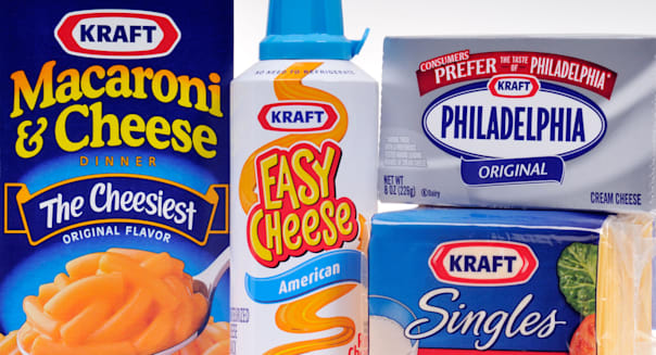 A group of Kraft cheese food products on white background.