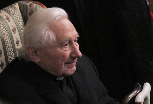 Georg Ratzinger, brother of the outgoing Pope Benedict XVI, answers journalists' questions during a media...