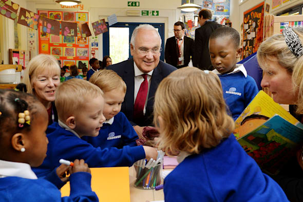 Embargoed to 0001 Thursday April 3Sir Michael Wilshaw, Ofsted Chief Inspector, during his visit to the Windrush Nursery in Woolwich, south east London, prior to the Ofsted Early Years Annual Report being published. PRESS ASSOCIATION Photo. Picture date: Wednesday April 2, 2014. See PA story EDUCATION Ofsted . Photo credit should read: John Stillwell/PA Wire