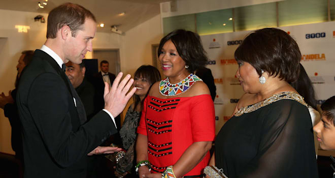 Britain's Prince William, Duke of Cambridge, meets Zindzi Mandela