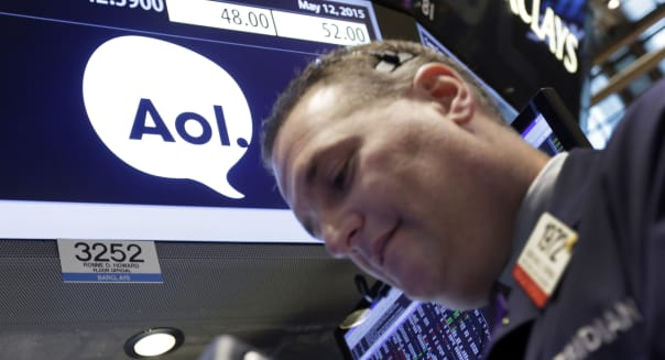APTOPIX Financial Markets Wall Street Verizon AOL Acquisition