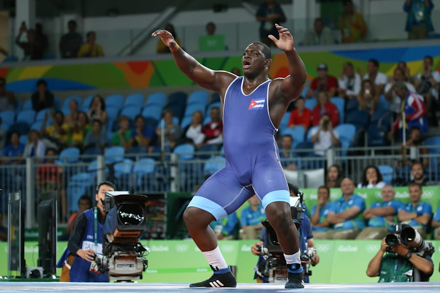 This is Mijain Lopez of Cuba, who just won his third straight Olympic gold in the men's 130 kg