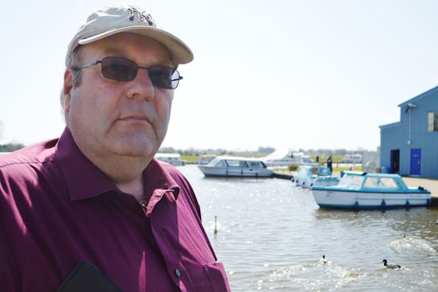 Kelvin Allen, eastern region chairman of the Angling Trust, at Herbert Woods, in Potter Heigham, as he warns an algai build up is killing fish and putting tourists off visiting the Norfolk Broads. PRESS ASSOCIATION Photo. Picture date: Wednesday April 15, 2015. While recent temperatures topping 20C (68F) have attracted the first holidaymakers of the season to the area, the pleasant weather could have the unfortunate side effect of increasing a build up of toxic algai which depletes oxygen levels in the water and kills fish.See PA story ENVIRONMENT Broads. Photo credit should read: Ben Kendall/PA Wire