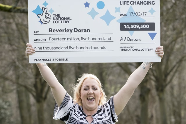 Mother of four Beverley Doran, 37, from West Yorkshire, celebrates at the Hollins Hall Marriott Hotel & Country Club in Bradford after scooping a £14,509,500 jackpot prize on last Friday's (17 Feb 2017) EuroMillions draw.