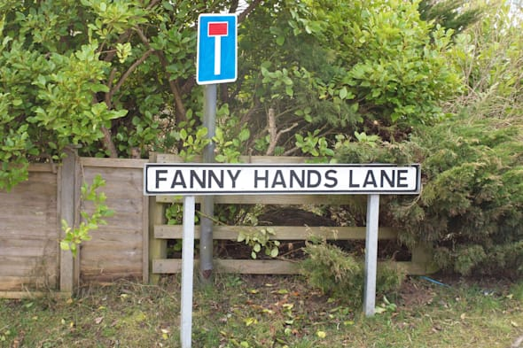 Embargoed to 0001 Tuesday February 25The street sign for Fanny Hands Lane in Ludford. Streets with rude-sounding names like Crotch Crescent, Turkey Cock Lane, Bell End and The Knob could turn out to be a haven for property hunters looking to snap up a bargain, research suggests. PRESS ASSOCIATION Photo. Issue date: Tuesday February 25, 2014. The study for website NeedaProperty.com looked for evidence of what impact living in a street with a suggestive name could have on the value of your home. Properties on streets with innuendo-laden names were found to be around one fifth or ?84,000 cheaper on average than other homes situated nearby. See PA story MONEY Streets. Photo credit should read: Lucy Bogustawski/PA Wire