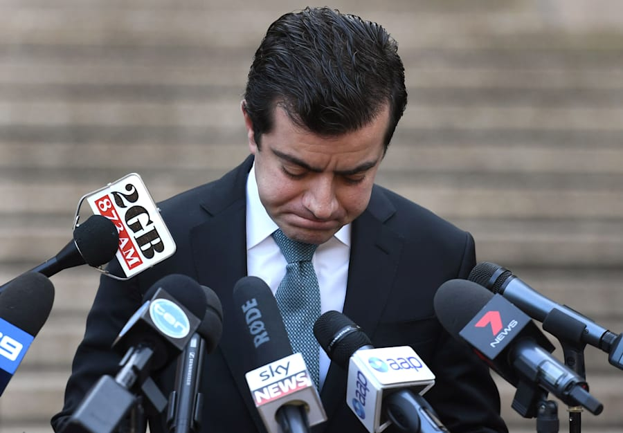 Sam Dastyari fronts the media on Tuesday to answer questions about the $1670 bill paid by a Chinese