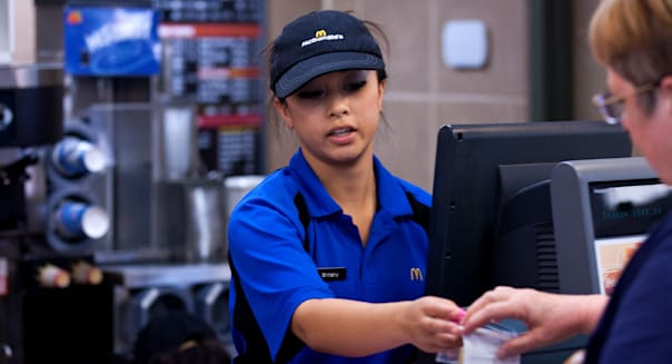 June 29, 2012 - Modesto, California, U.S. - DARRYL BUSH/dbush@modbee.com - Brittany Peralta, 17, of Salida, hands out a receipt