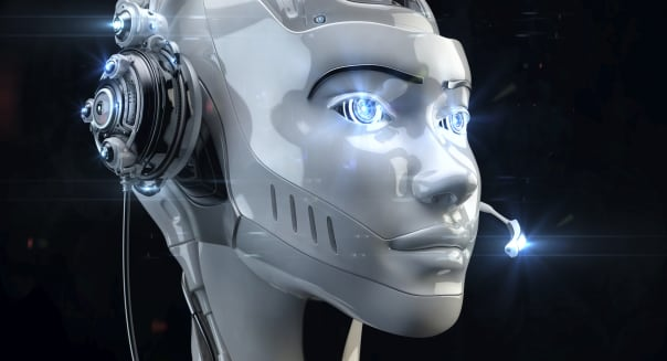 Futuristic worker of call-center