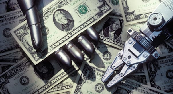 Robot arms and American cash, money, dollar, dollars, bill, bills, currency,