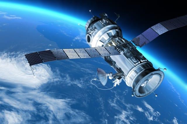 'My design space station on Earth orbit. The satellite has severalcommunication  anten.Also it maybe SPY, GPS satelite.'