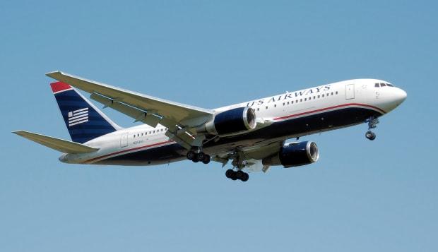 US Airways Boeing 767-200ER (N253AY) lands at London Heathrow Airport, England.