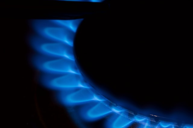 Gas flame of a stove in the dark