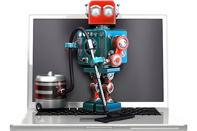 Retro Robot with laptop and vacuum cleaner. Isolated. Clipping path